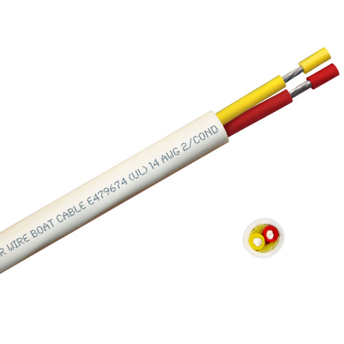BOAT CABLE ROUND 14/2 YELLOW/RED 100FT ROLL