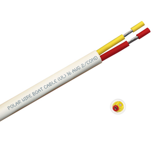 BOAT CABLE ROUND 16/2 YELLOW/RED 100FT ROLL