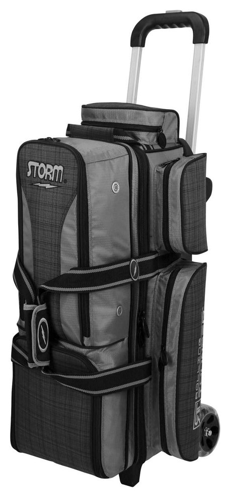 Storm Rolling Thunder 3-Ball Roller Bowling Bag Plaid Grey Black