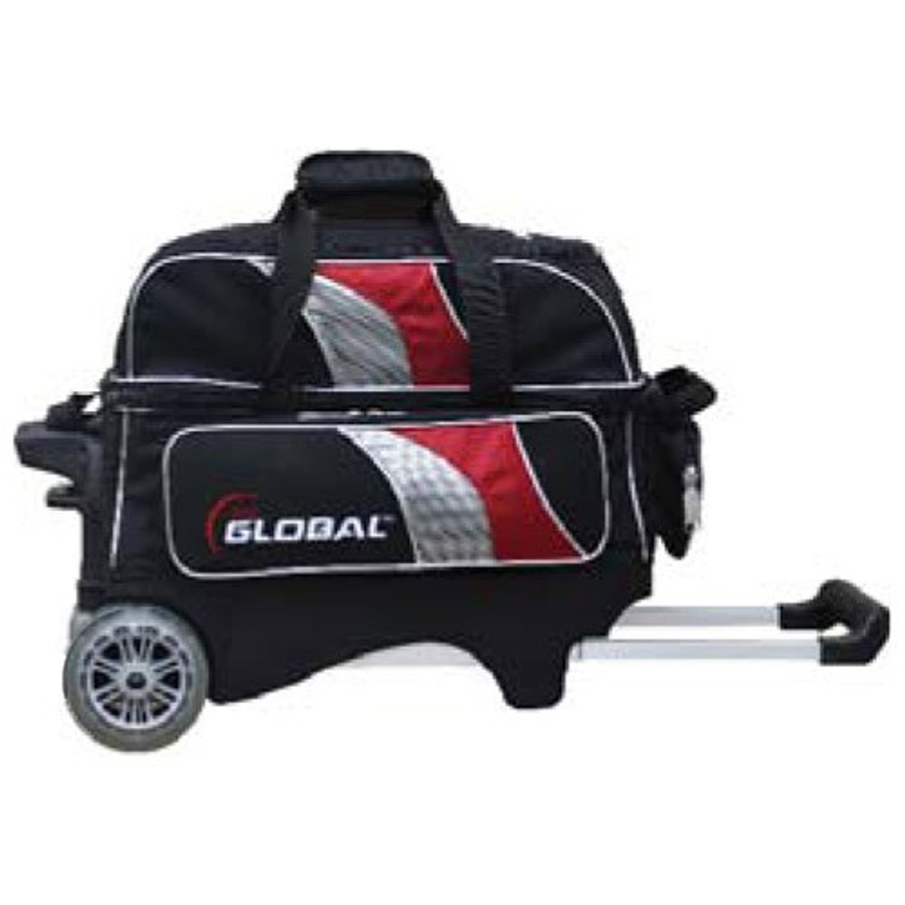 900 Global 2 Ball Deluxe Roller Bowling Bag Black Red Silver