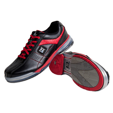 Brunswick TPU X Mens Bowling Shoes Black Red Right Hand stacked shoes side view