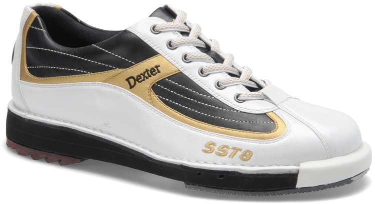 Dexter SST 8 Mens Bowling Shoes White/Black/Gold side view angle