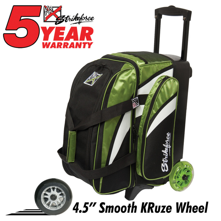 KR Cruiser Smooth 2 Ball Double Roller Bowling Bag Lime