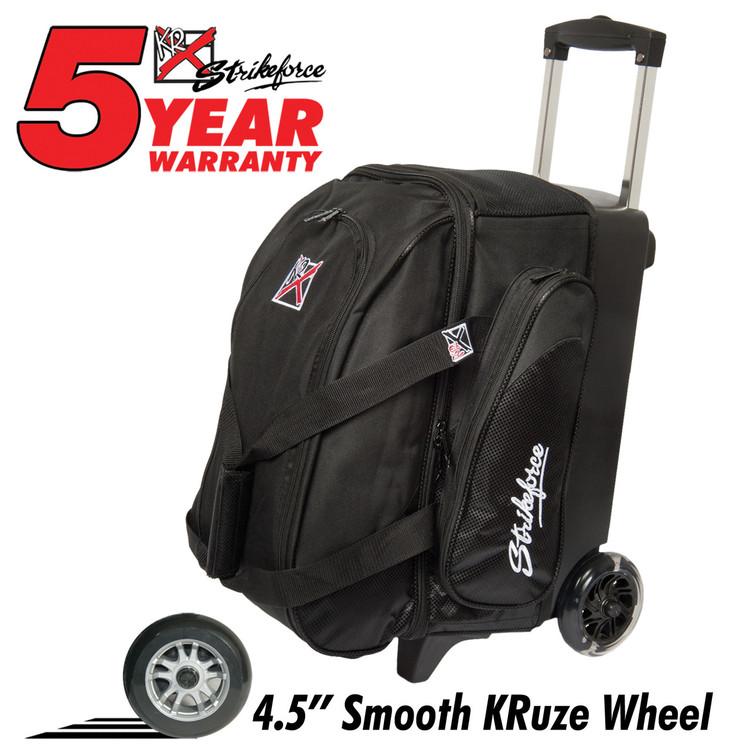 KR Cruiser Smooth 2 Ball Double Roller Bowling Bag Black