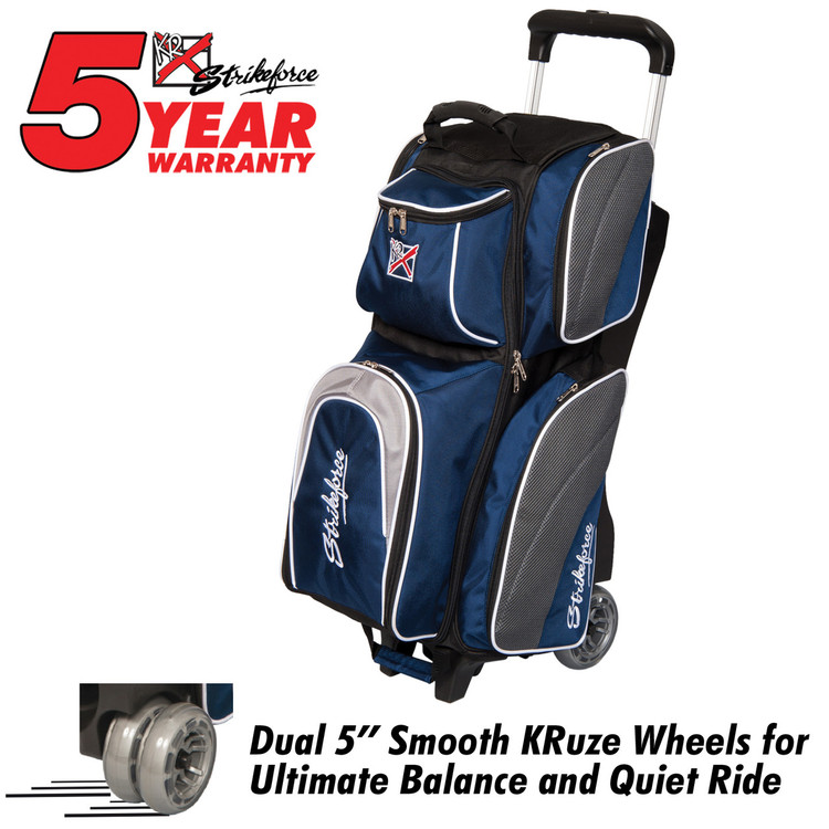 KR Strikeforce Apex 3 Ball Roller Bowling Bag Navy