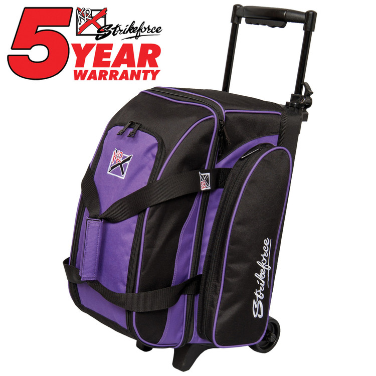 KR Eliminator 2 Ball Double Roller Bowling Bag Purple