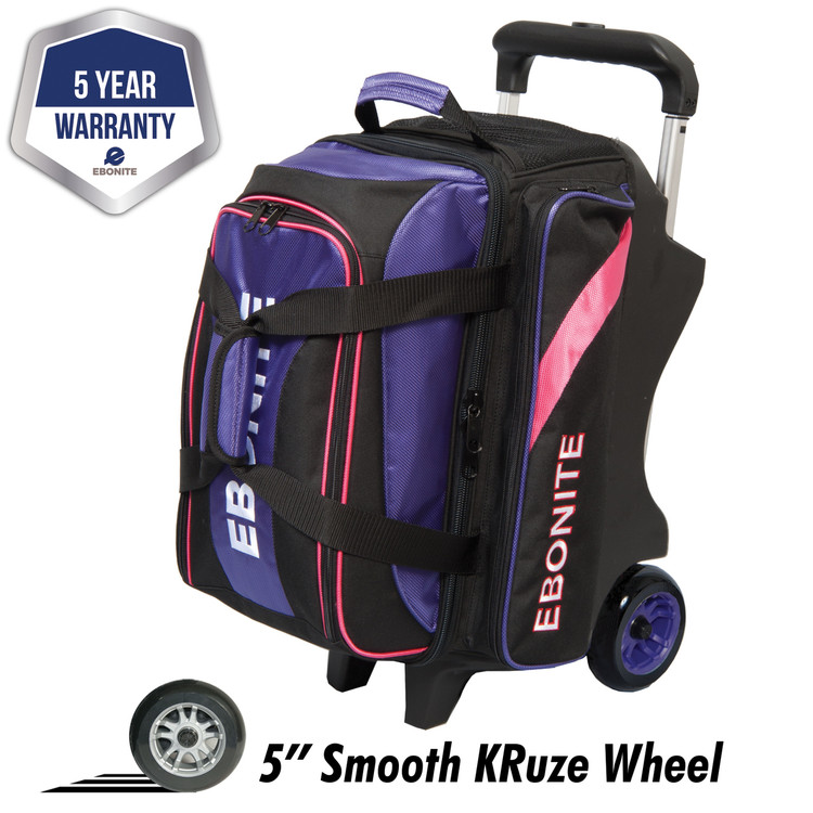 Ebonite Equinox 2 Ball Double Roller Bowling Bag Purple Pink