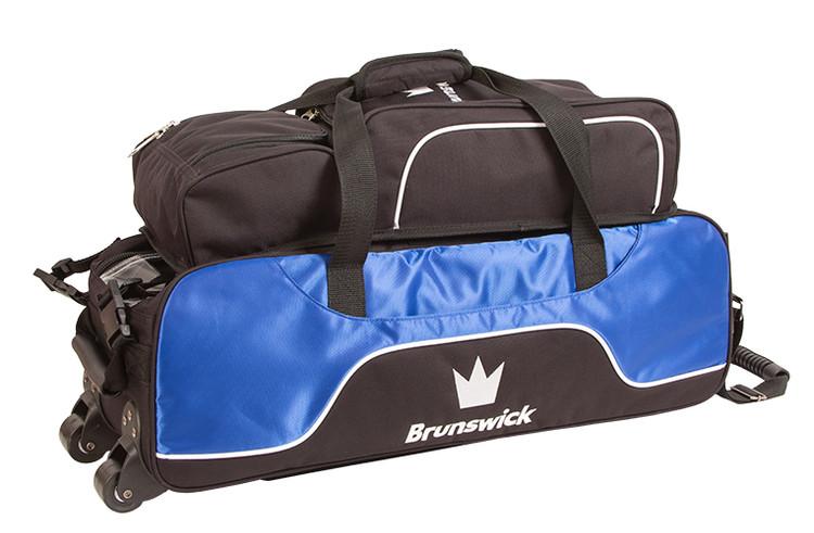 Brunswick Crown 3 Ball Triple Tote Bowling Bag with Pouch Royal