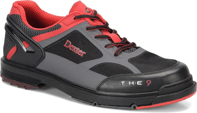 Dexter THE 9 HT Mens Bowling Shoes Black Red Grey Wide Width