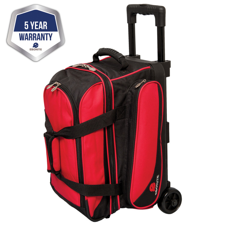 Ebonite Transport 2 Ball Double Roller Bowling Bag Red