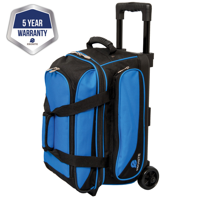 Ebonite Transport 2 Ball Double Bowling Bag Roller Blue