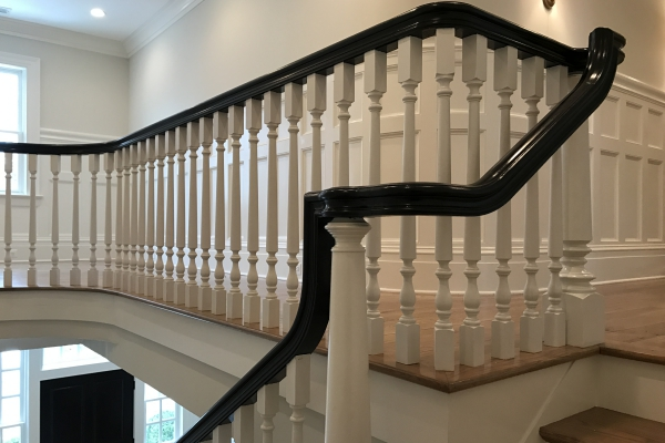 Large Turned Newel Posts. Thick Stair Treads