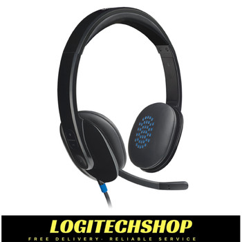 Logitech H540 USB Computer Headset HD Sound and On-Ear Controls-Black