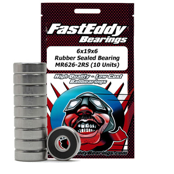 6x19x5 Rubber Sealed Bearing MR626-2RS (10 Units)
