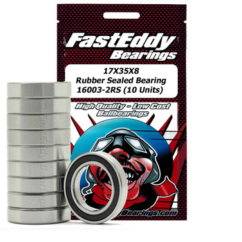 17X35X8 Rubber Sealed Bearing 16003-2RS (10 Units)