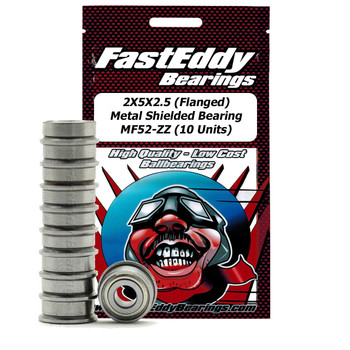 2X5X2.5 (Flanged) Metal Shielded Bearing MF52-ZZ (10 Units)