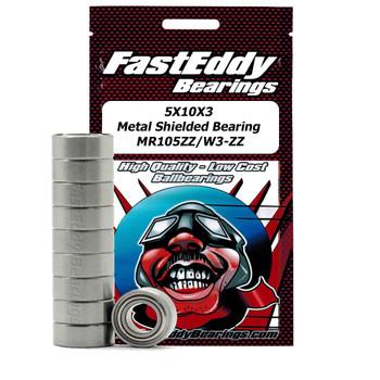 5X10X3 Metal Shielded Bearing MR105ZZ/W3-ZZ (10 Units)