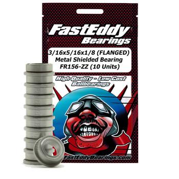 3/16x5/16x1/8 (FLANGED) Metal Shielded Bearing FR156-ZZ (10 Units)