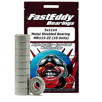 5x11x4 Metal Shielded Bearing MR115-ZZ (10 Units)