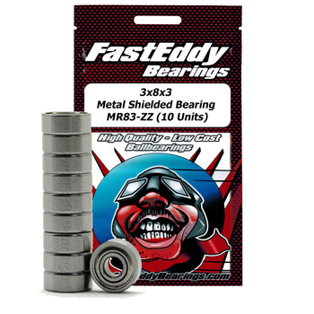 3x8x3 Metal Shielded Bearing MR83-ZZ (10 Units)