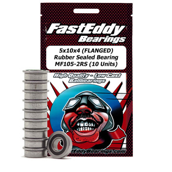 5x10x4 (FLANGED) Rubber Sealed Bearing MF105-2RS (10 Units)