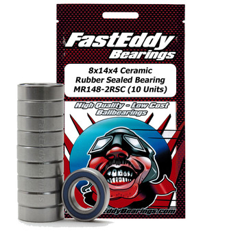8x14x4 Ceramic Rubber Sealed Bearing MR148-2RSC (10 Units)