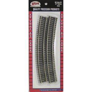 """Atlas 0535 Code 83 22"""" Radius Curved HO pack of 6 pieces"""