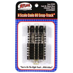 Atlas 2509 Straight Track Assortment Code 80 N gauge