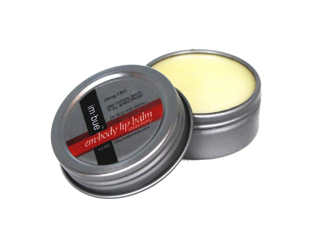 im·bue™ - em·body 25mg premium CBD strawberry lip balm - 1/2 ounce tin