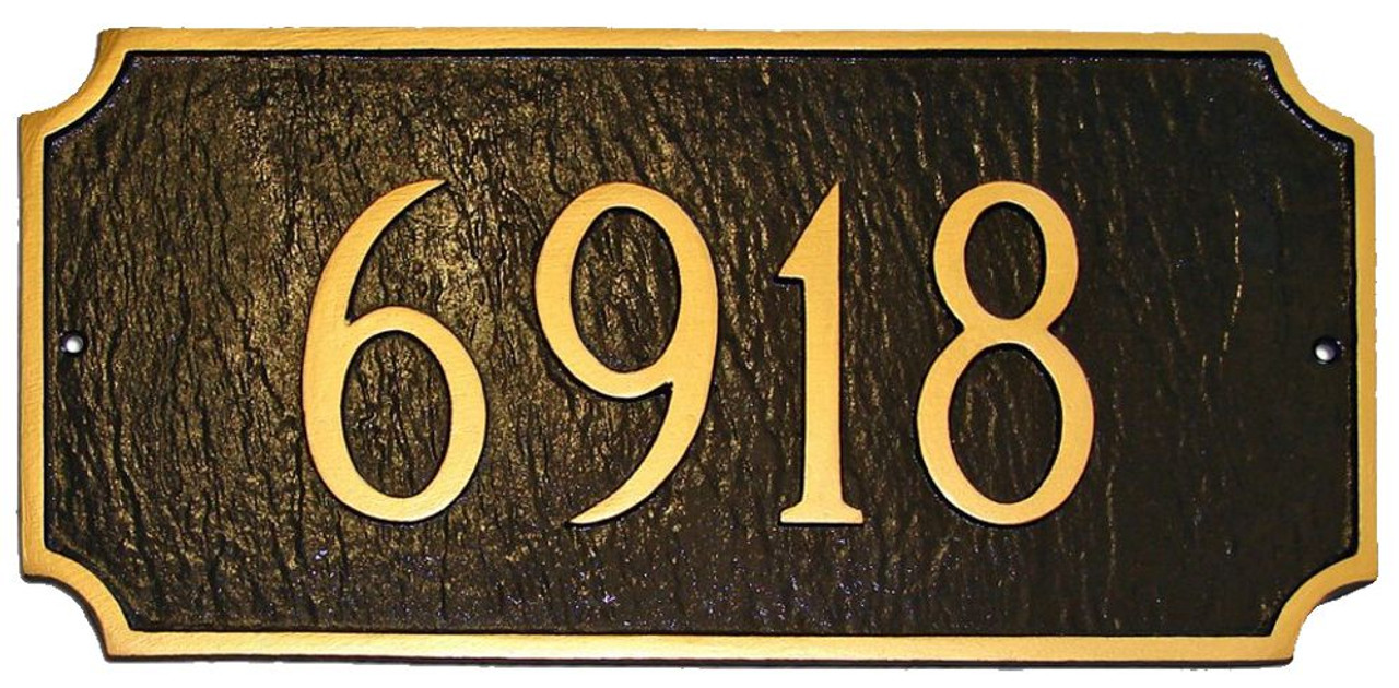 Princeton Address Plaque shown in Chocolate with Gold color combination.