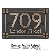 Frank Lloyd Craftsman Address Plaque