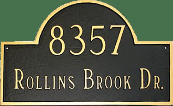 Estate Size Address Plaque Black/Gold Color Combo