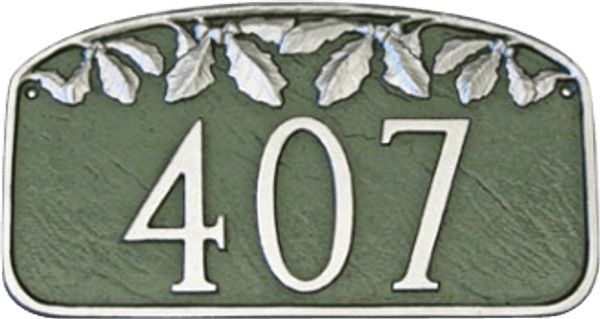 Address Number Plaque Shown in Hunter Green/Silver