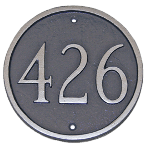 Circle House Number Plaque in Grey/Silver