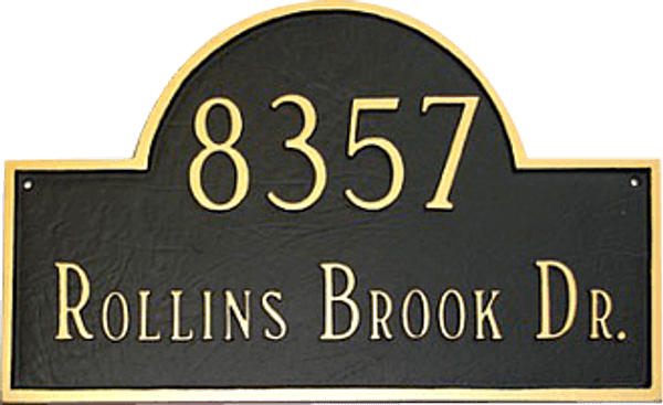 Home Address Plaque shown in Black/Gold Color Combo