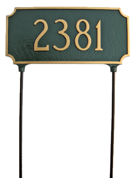 Two Sided Address Plaque. Lawn Stakes are Included for No Additional Charge