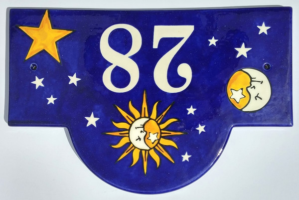 Sun and Moon Half Face House Plaque - Example 3