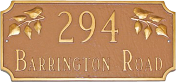 Decorative Address Plaque shown in color combination Sand/Gold