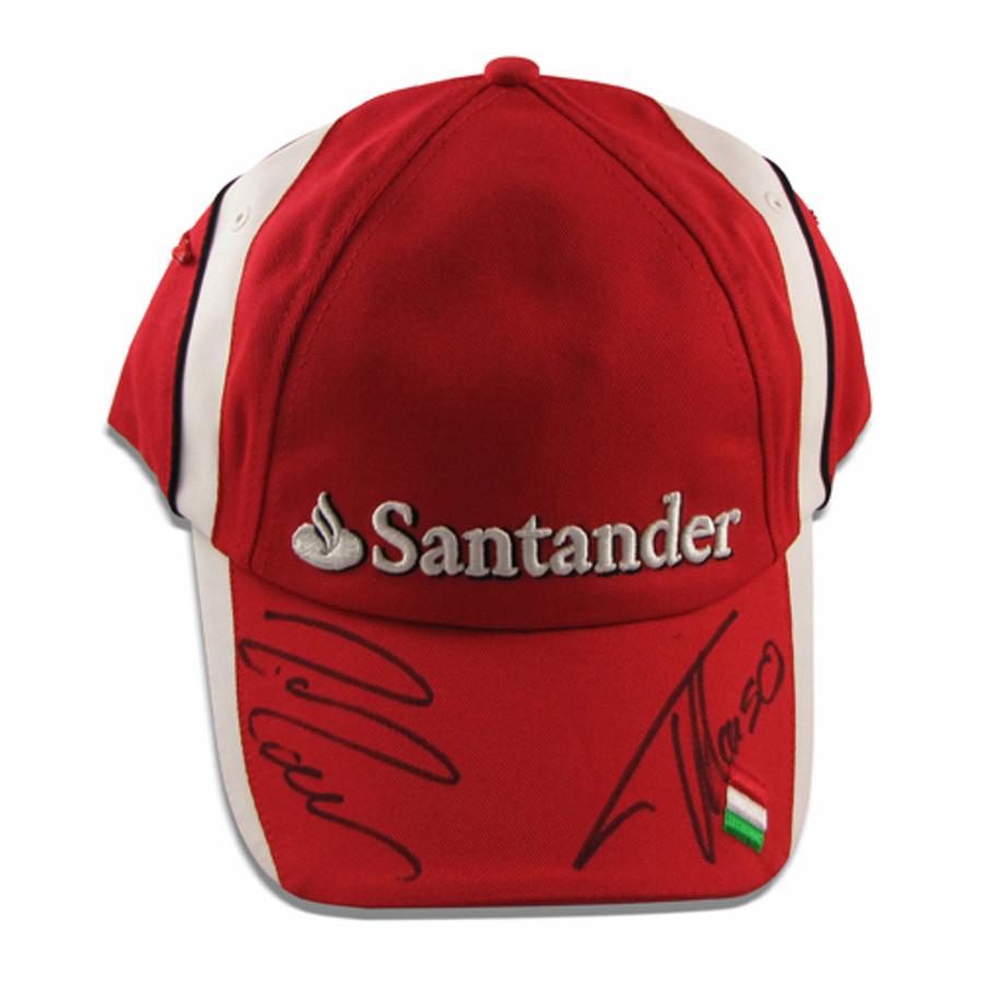 Fernando Alonso and Felipe Massa signed Ferrari team cap
