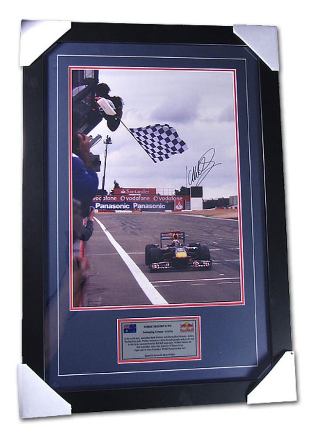 2009 Mark Webber 'First Win' Signed Frame