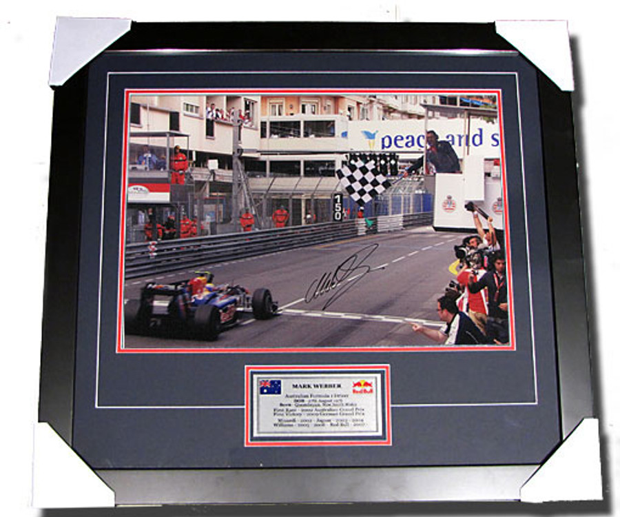 2010 Mark Webber Monaco GP Win Signed Frame - 2