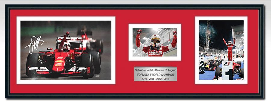 Sebastian Vettel Ferrari Signed Photograph / Frame - Singapore Win 2015