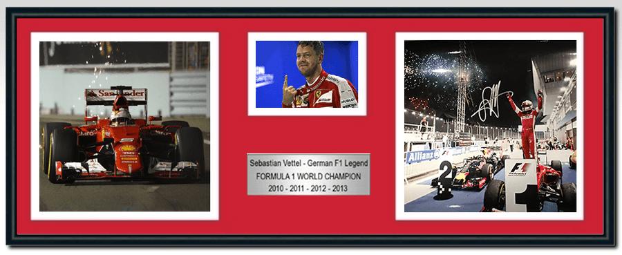 Sebastian Vettel Ferrari Signed Photograph / Frame - Singapore Win 2015 - 4