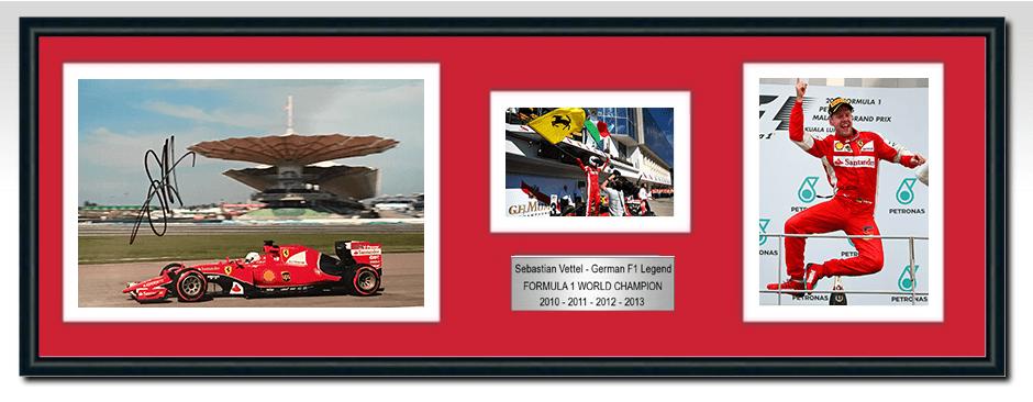 Sebastian Vettel Ferrari Signed Photograph / Frame - Malaysia 1st ...