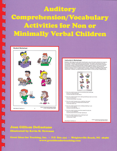 Auditory Comprehension/Vocabulary Activities for Non or Minimally Verbal Children