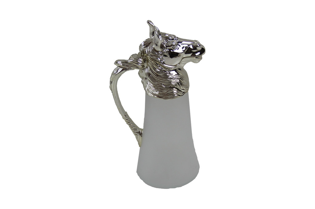 Horse Head Wine Jug -Satin Frosted Glass