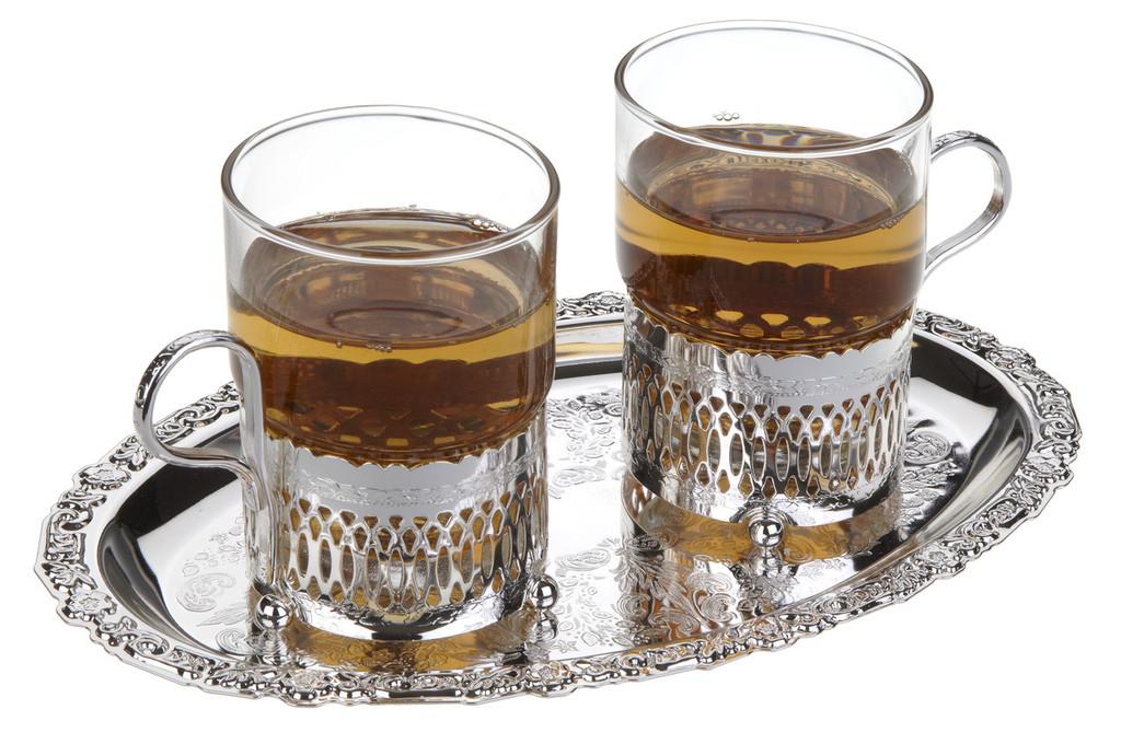2 Roman Tea Cups on Oval Tray