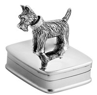 Rectangular hinged pillbox with moving scottish terrier