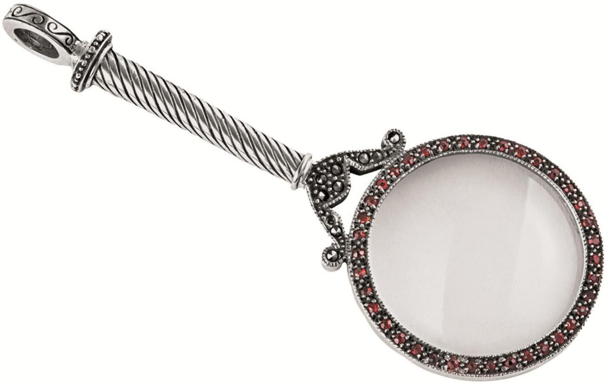 Antique finished marcasite and garnet set magnifying glass pendant antique finished marcasite and garnet set magnifying glass pendant magnification x 6 aloadofball Image collections