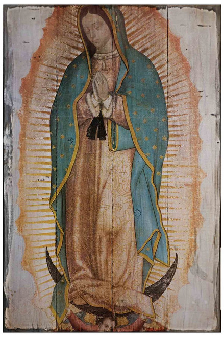 Our Lady of Guadalupe (Traditional) Rustic Wood Plaque